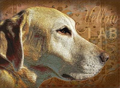 Breed Digital Art - Yellow Lab Dog by Wendy Presseisen