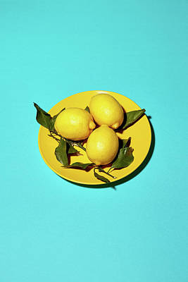Yellow Lemons On Cyan Print by Oleg Cherneikin