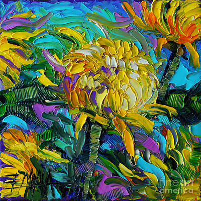 Yellow Mums Print by Mona Edulesco
