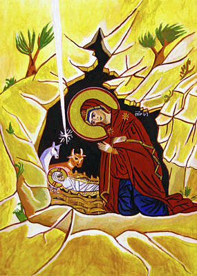 Orthodox Painting - Yellow Nativity by Munir Alawi