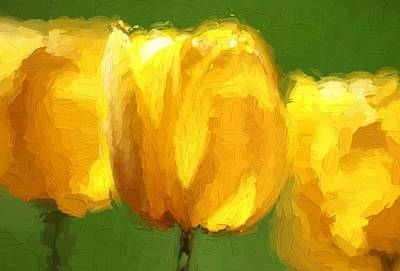 Tulips Mixed Media - Yellow On Green by Dan Sproul