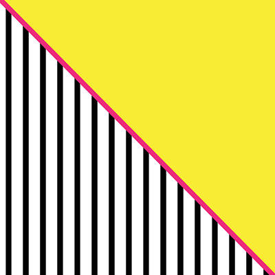 Yellow Pink And Black Geometric Print by Linda Woods