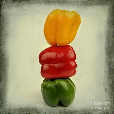 Yellow Red And Green Bell Pepper Print by Bernard Jaubert