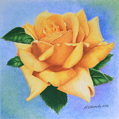 Thinking Of You Drawing - Yellow Rose by Marna Edwards Flavell