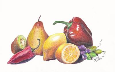 Kiwi Drawing - Yellow Salad by Debbie Fischer