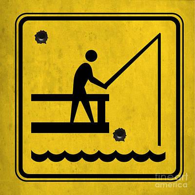 Asphalt Digital Art - Yellow Sign For Fishing Men by Pablo Franchi