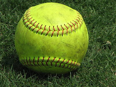 Softball Photograph - Yellow Softball by Carrie Munoz