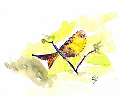 Yellow Songbird Original by Prajakta P