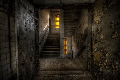 Creepy Digital Art - Yellow Stairs by Nathan Wright