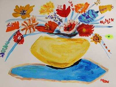 Yellow Stoneware Vase Original by Mary Carol Williams