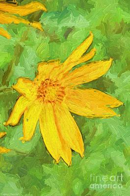 Yellow Summer Wildflowerw II Print by Debbie Portwood