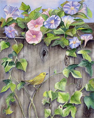 Malibu Painting - Yellow Warbler And Morning Glory by Patricia Pushaw