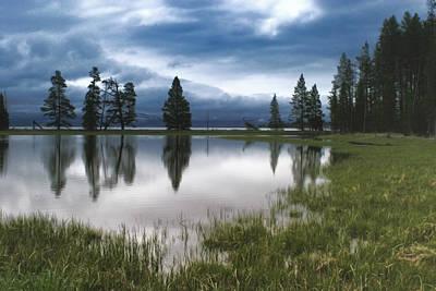 Yellowstone Digital Art - Yellowstone Lake Reflection by Shari Jardina