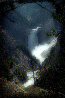 Yellowstone Park August At Artist Point Lower Falls Vertical Textured 01 Print by Thomas Woolworth