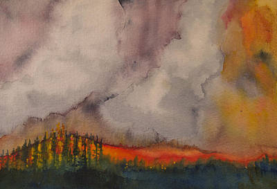 Wildfire Painting - Yellowstone Summer by Tonja Opperman