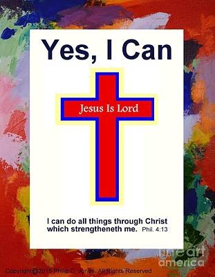 Yes I Can - Philippians 4 13 - Red Christian Poster Print by Philip Jones