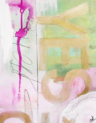Anahi Decanio Mixed Media - Yes Please Abstract In Pink And Gold by WALL ART and HOME DECOR