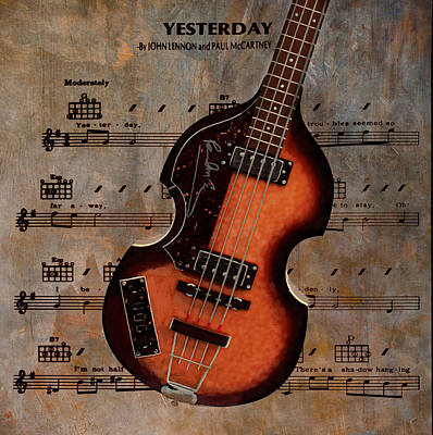 Mccartney Digital Art - Yesterday - Paul Mccartney Hofner Bass by Bill Cannon