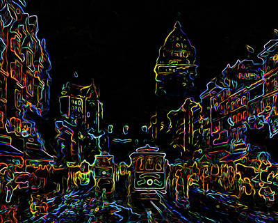 Yesteryear Goes Neon Print by Ron Fleishman