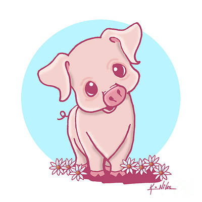 Piglets Drawing - Yittle Piggy by Kim Niles