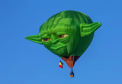 Yoda Hot Air Balloon Print by Garry Gay