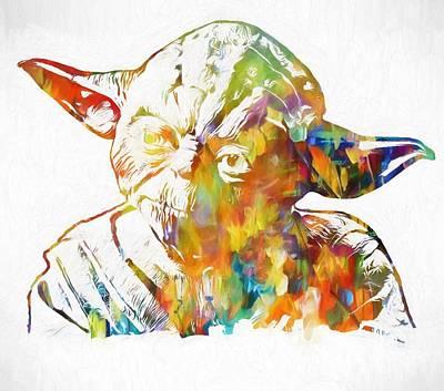 Anger Mixed Media - Yoda Star Wars by Dan Sproul