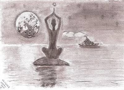 Yoga In The Ocean Print by Osama Amin