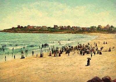 Vintage Painting - York Beach Circa 1901 by John K Woodruff