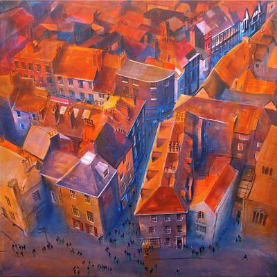 Tiles Painting - York Minster Yard by Neil McBride