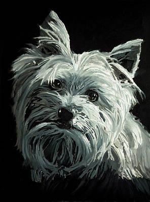 Dog Portrait Painting - Yorkie by Enzie Shahmiri