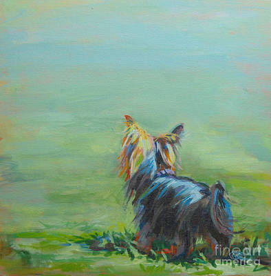 Egg Print featuring the painting Yorkie In The Grass by Kimberly Santini
