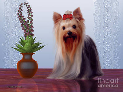 Puppy Digital Art - Yorkshire Terrier by Corey Ford