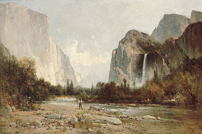 Yosemite Bridal Veil Falls Print by Thomas Hill