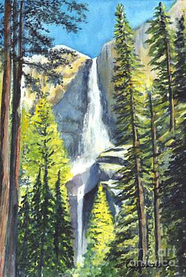 Yosemite National Park Drawing - Yosemite Falls Watercolor Painting by Carol Wisniewski