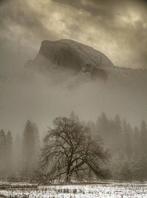 Yosemite In The Winter Print by Connie Cooper-Edwards