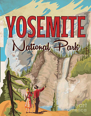 National Park Drawing - Yosemite National Park by Adam Asar