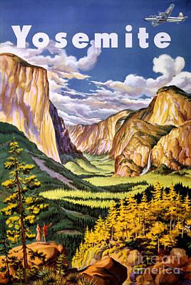 Yosemite National Park Mixed Media - Yosemite National Park Vintage Poster by Carsten Reisinger