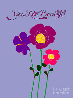 You Are Beautiful - Poppies Print by Celestial Images