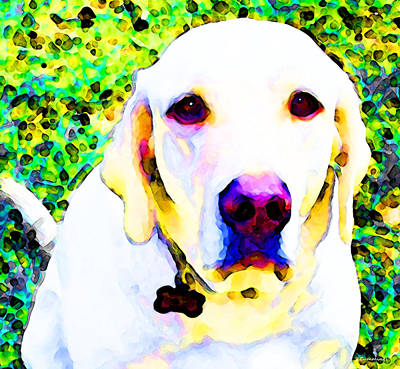 Pet Portrait Digital Art - You Are My World - Yellow Lab Art by Sharon Cummings