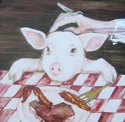 Of A Pig Painting - You Are What You Eat Number  2 by Georgia Annwell