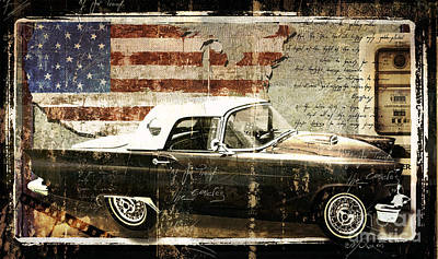 You Can Drive Vintage T-bird Print by Mindy Sommers