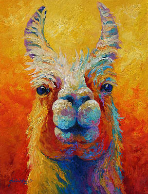 Llama Painting - You Lookin At Me by Marion Rose