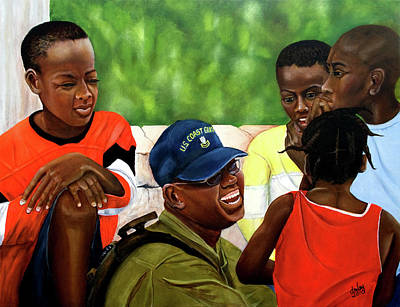 Blck Painting - You Make Me Smile Coast Guard In Haiti by Dorothy Riley
