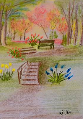 Park Scene Drawing - You Were There by Maria Urso