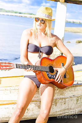 Water Play Photograph - Young Attractive Blonde Woman Playing Guitar by Jorgo Photography - Wall Art Gallery