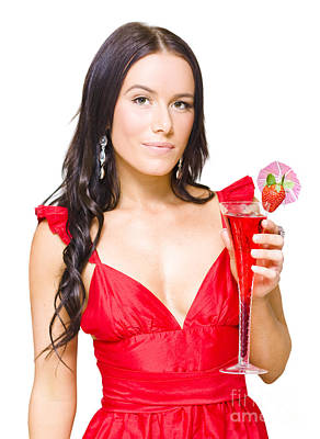 Women Tasting Wine Photograph - Young Beautiful Party Girl Holding Cocktail by Jorgo Photography - Wall Art Gallery