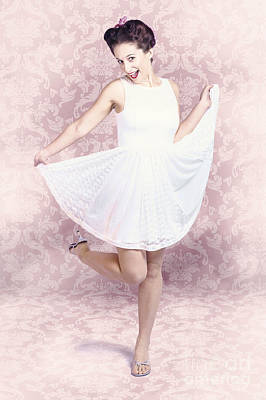 Young Beautiful Pinup Woman Dancing In Retro Dress Print by Jorgo Photography - Wall Art Gallery