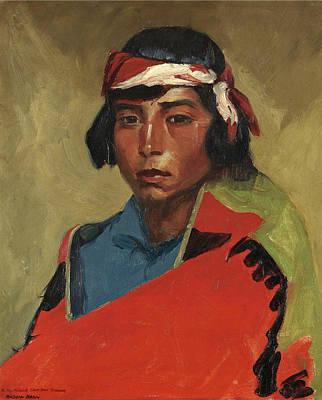 Robert Henri Painting - Young Buck Of The Tesuque Pueblo by Robert Henri