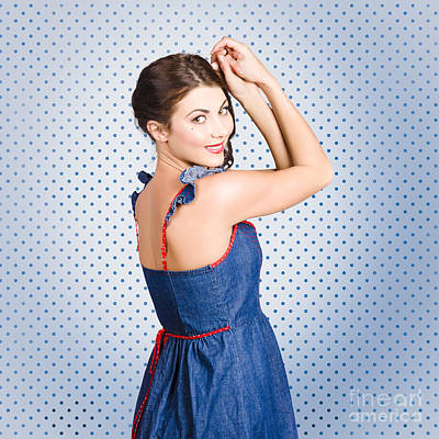 Young Caucasian Woman Posing In Retro Denim Dress Print by Jorgo Photography - Wall Art Gallery
