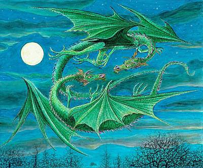 Moonlit Night Drawing - Young Dragons Frisk by Charles Cater